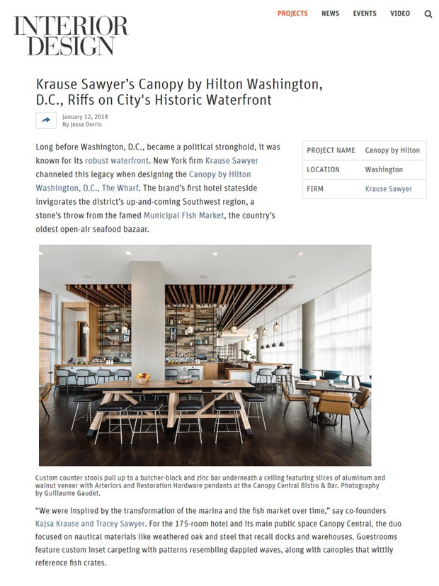 Sawyer & Company's Design for the New Washington, DC Canopy by Hilton featured in Interior D