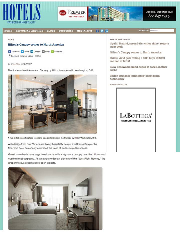 Sawyer & Company's Canopy by Hilton Design Featured in HOTELS Magazine