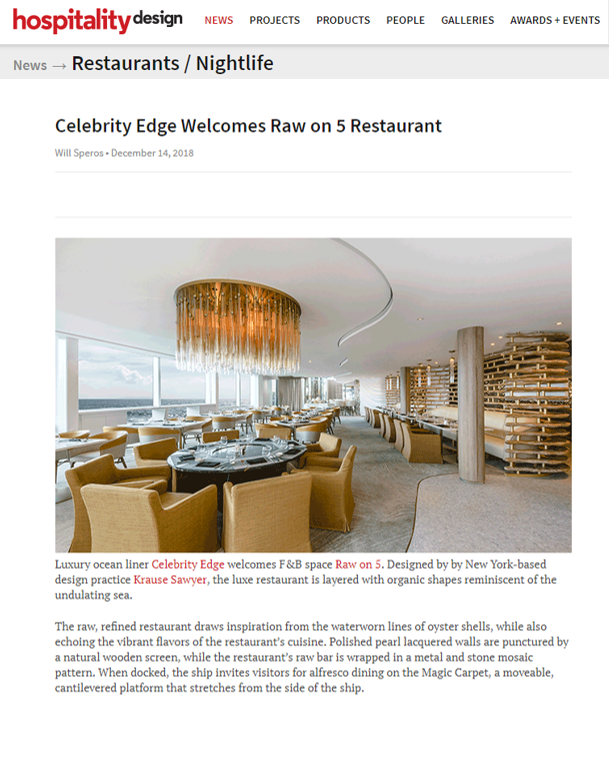 Sawyer & Company Design of Raw on Five Featured in Hospitality Design