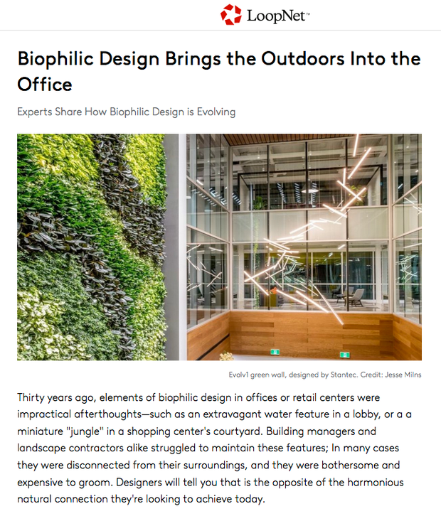 LoopNet Features Sawyer & Company's Biophilic Design for Office Spaces