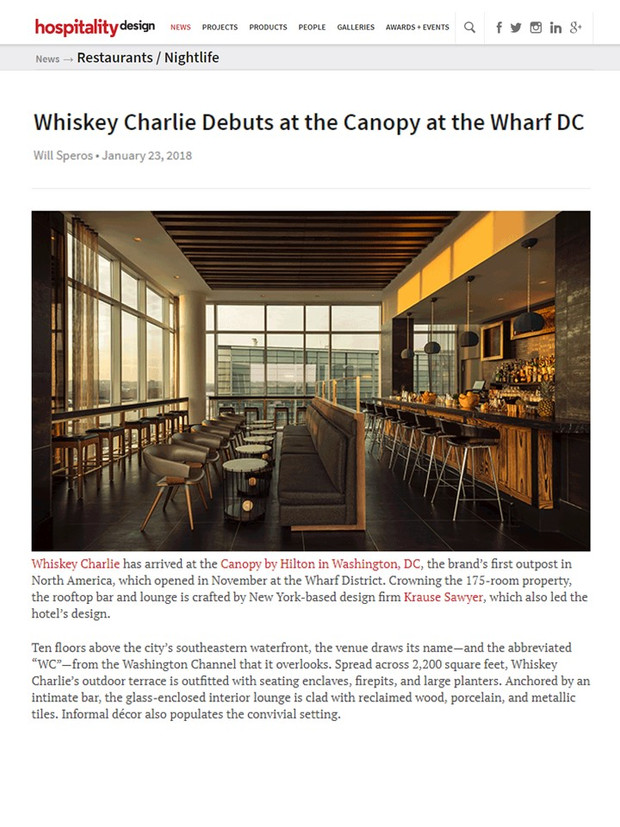 Sawyer & Company's Design of Whiskey Charlie at the Canopy by Hilton at the Wharf DC Spotlig