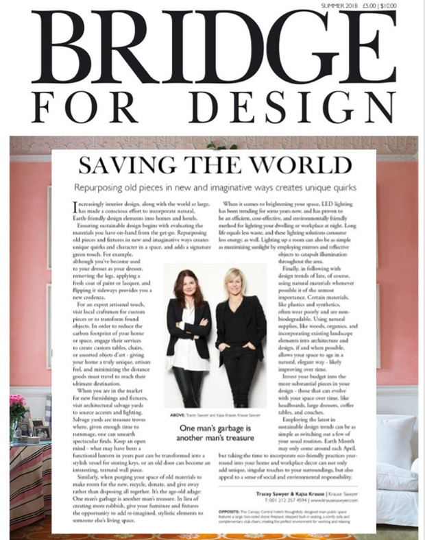Sawyer & Company Shares Green Design Tips with Bridge for Design Magazine
