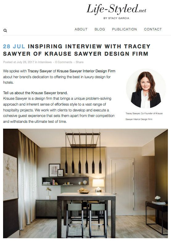 Tracey Sawyer, Founder of Sawyer & Company, Interviewed on Life-Styled by Stacy Garcia