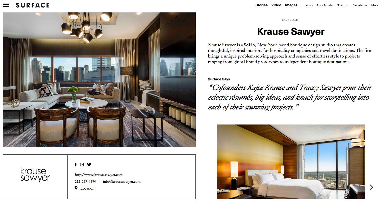 Krause sawyer featured as best interior design agency by - New york interior design firms ...