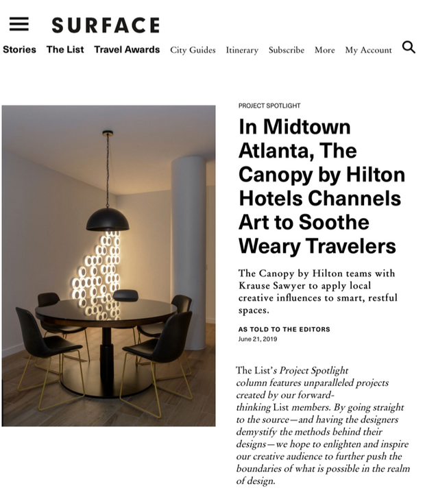Sawyer & Company's Design of Canopy Atlanta Midtown Featured in Surface Magazine