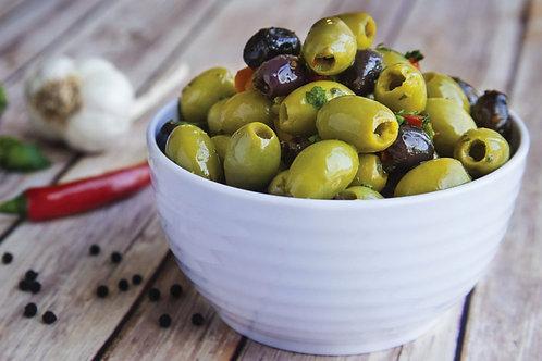 Mistoliva Olives - Fantastic Green & Blk Olives in a light Marinade 200grm