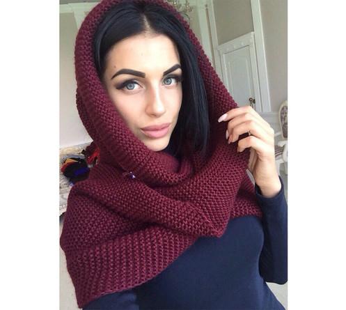теплый вязаный шарф хомут мод 63 Fg