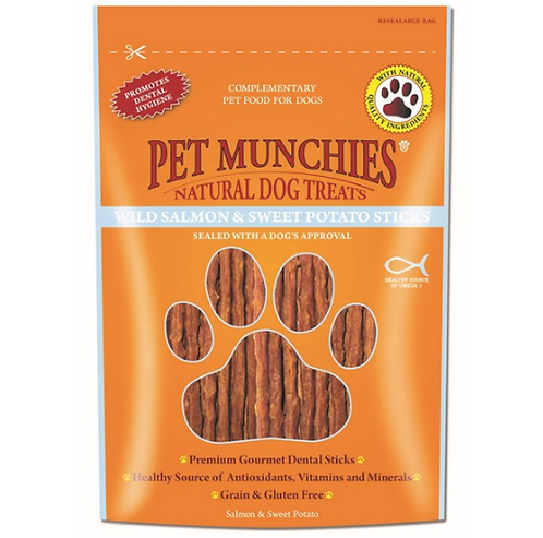 Pet Munchies Dog Treats - Wild Salmon & Sweet Potato Sticks - 8 x 90g Bags
