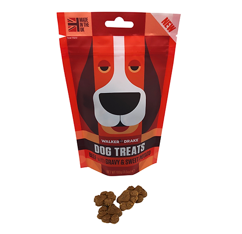 Walker and Drake Dog Treats - Beef with Gravy & Sweet Potato - 10x100g