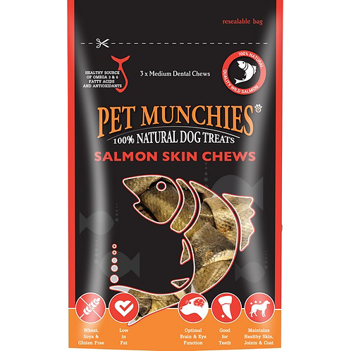 Pet Munchies Dog Treats - Medium Salmon Skin Chews - 8 x 90g Bags