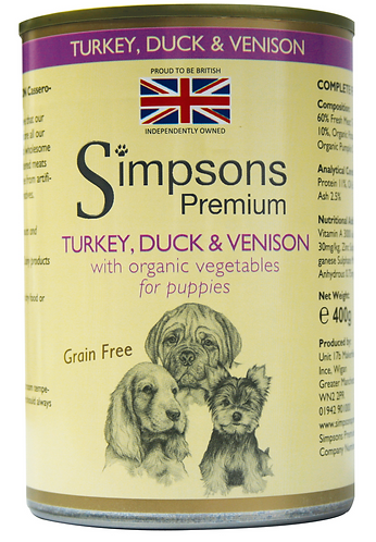 Simpsons Puppy Turkey, Duck and Venison Tins - 6 Pack
