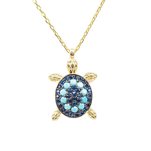 Turtle Turquoise Blue Pendant Necklace Gold