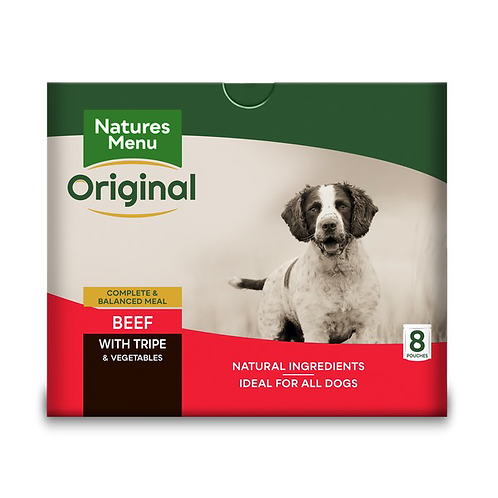Natures Menu Dog Pouches - Adult Beef & Tripe 8x300g