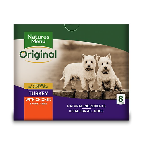 Natures Menu Dog Pouches - Adult Turkey & Chicken 8x300g