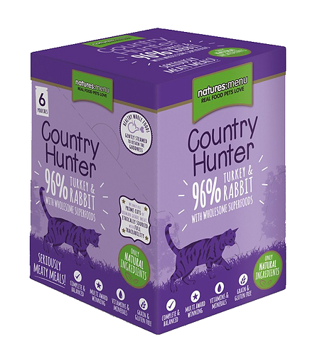Country Hunter Wet Cat Food - Turkey & Rabbit (36 x 85g Pouches)