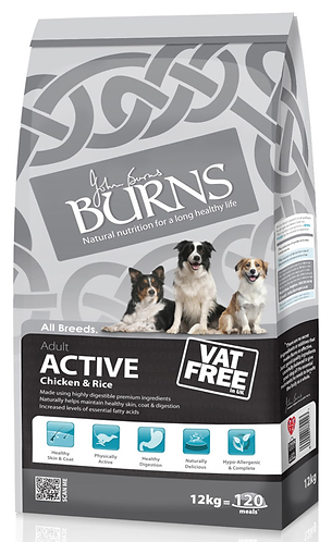 Burns Active Chicken & Rice Dry Dog Food 12kg