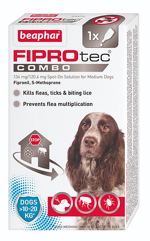 FIPROtec COMBO Spot On Solution for Medium Dogs 10-20 kg
