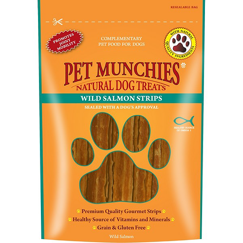 Pet Munchies Dog Treats - Wild Salmon Strips - 8 x 80g Bags