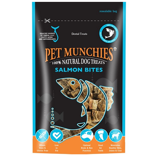 Pet Munchies Dog Treats - Salmon Bites - 8 x 90g Bags