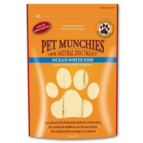 Pet Munchies Dog Treats - Ocean White Fish Strips - 8 x100g Bags