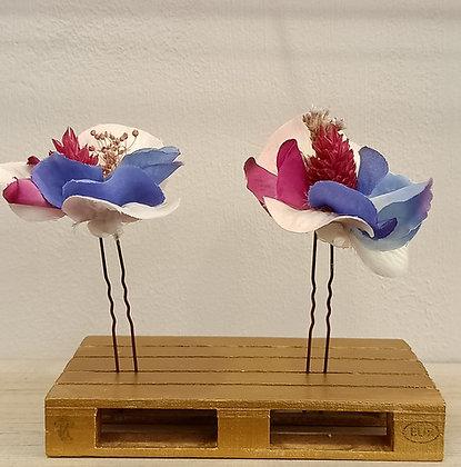 Horquillas Buganvilla, Rosa, Azul
