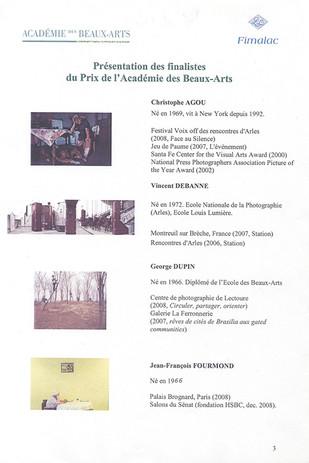 Nominé prix de l' Académie des Beaux- Arts  / Fimalac
