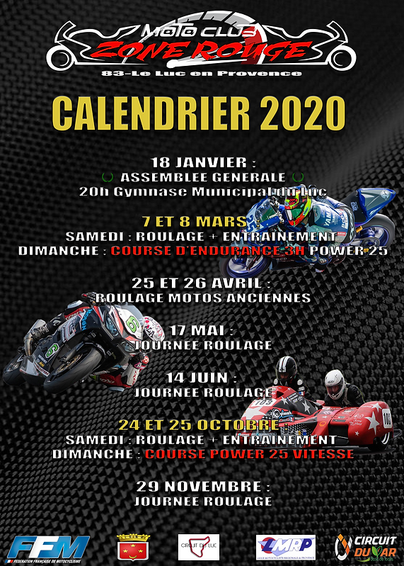calendrier roulage 2020 moto club zone r