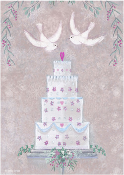 Wedding cake and doves