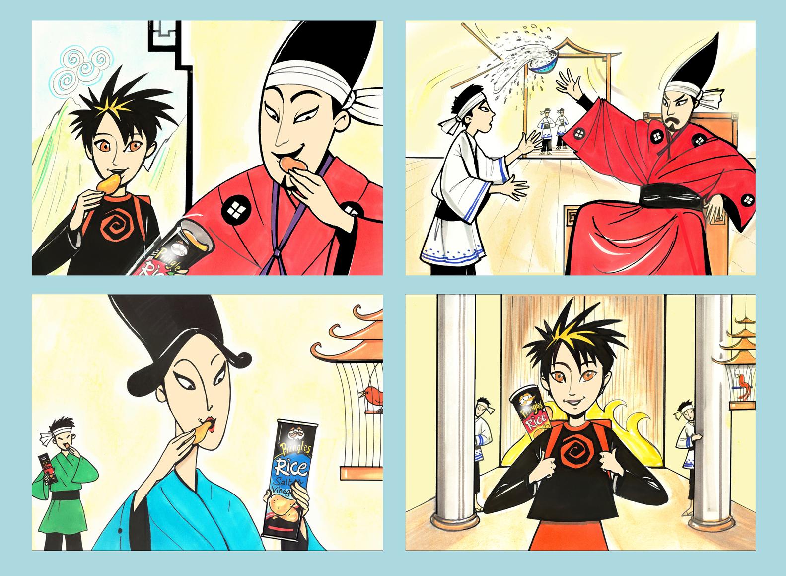 Manga style storyboard frames.
