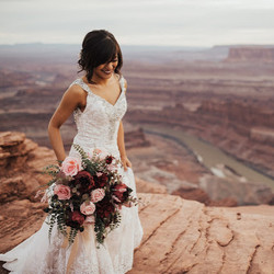 blush and burgundy faux wedding bouq