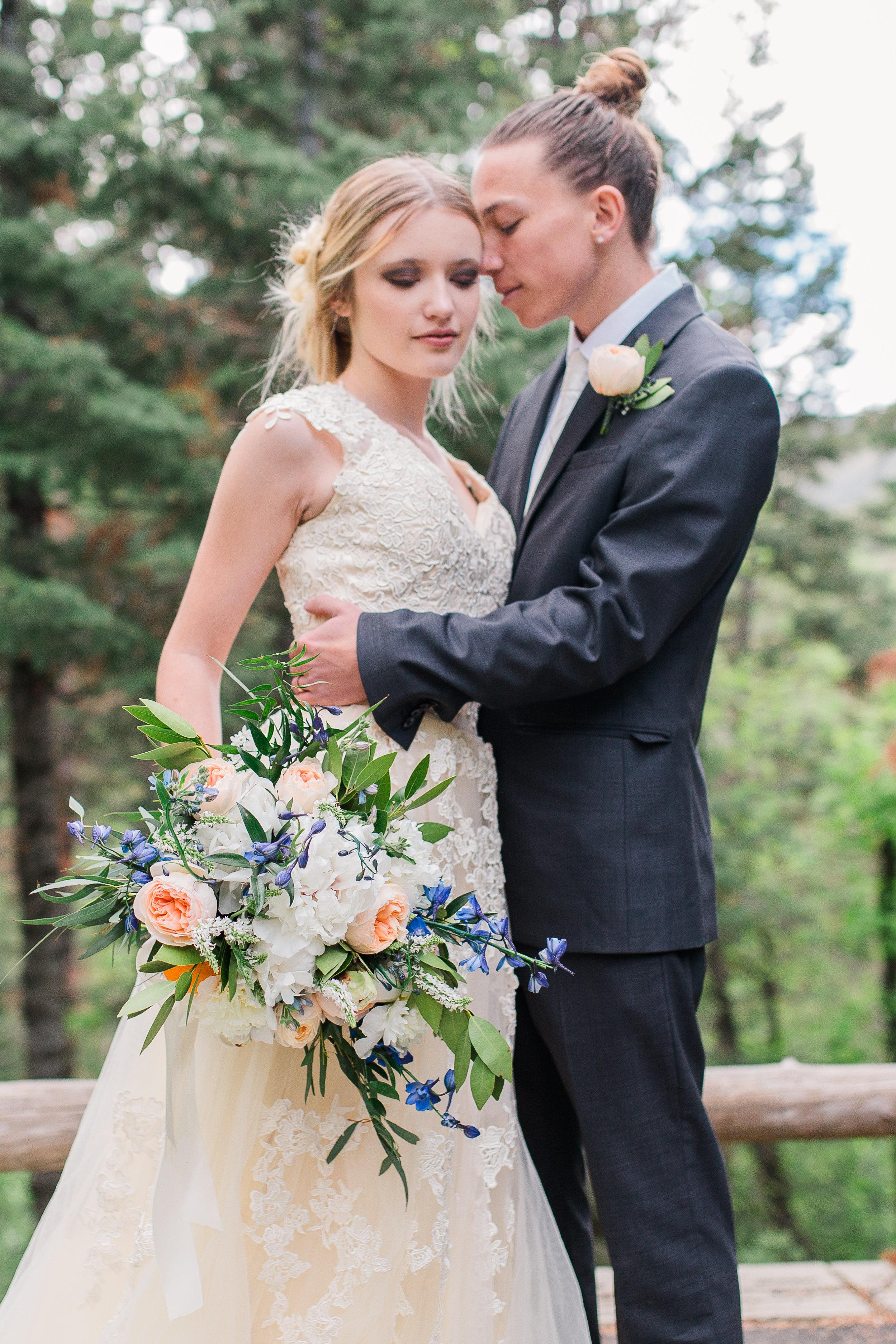 peach and blue bridal bouquet