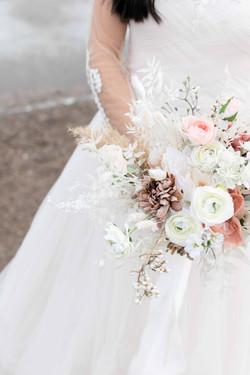 neutral dried bridal bouquet faux