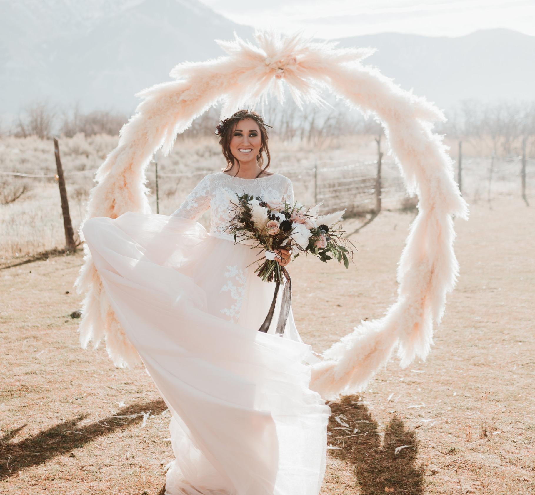 pampas grass wedding circle arch