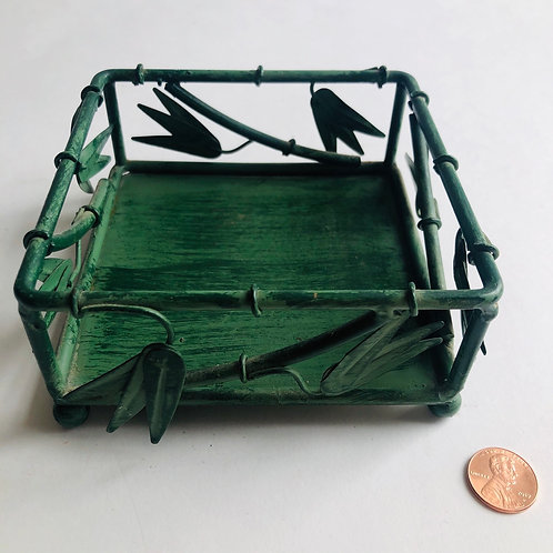 Small Green Metal Candle Basket