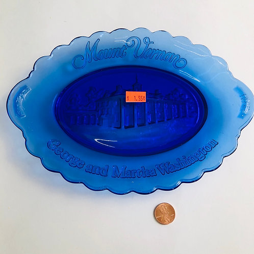 Cobalt Blue Mount Vernon Commemorative Plate