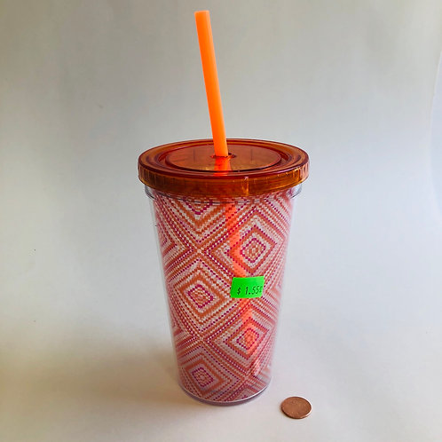 Orange Plastic Travel Cup with Straw