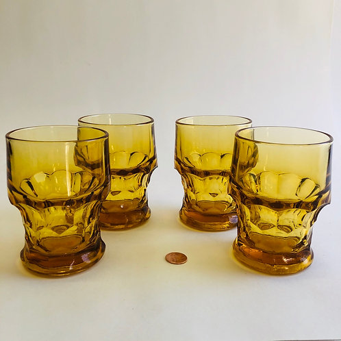 Vintage Amber Glasses - Set of 4