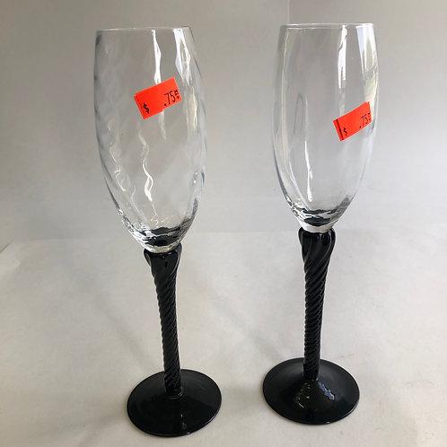 Black Stemmed Wine Flutes (pair)
