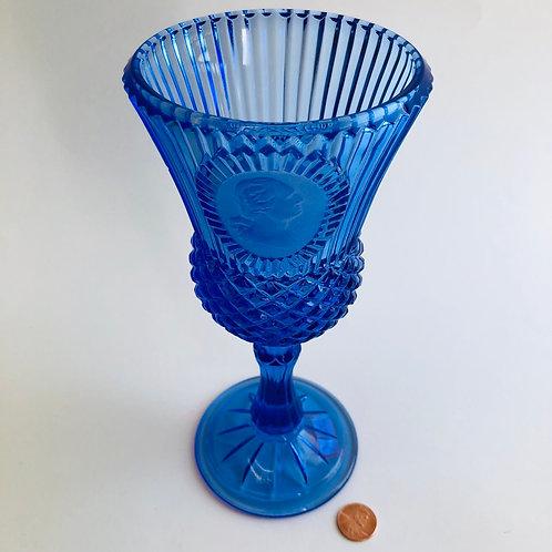 1976 Avon Bicentennial Blue Glass Goblet