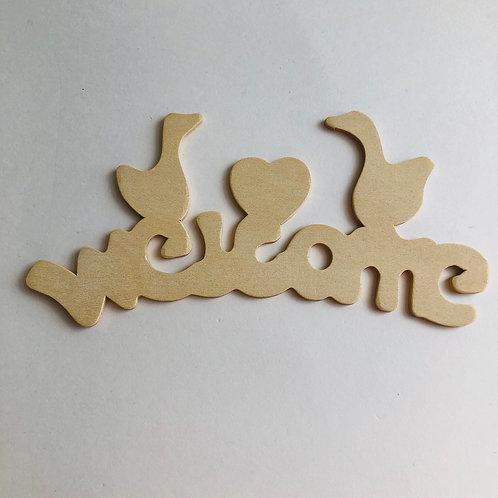 Wood Ducks & Heart Welcome Sign