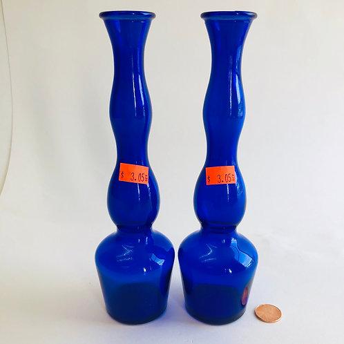 Set of 2 Cobalt Blue Glass Candle Holders