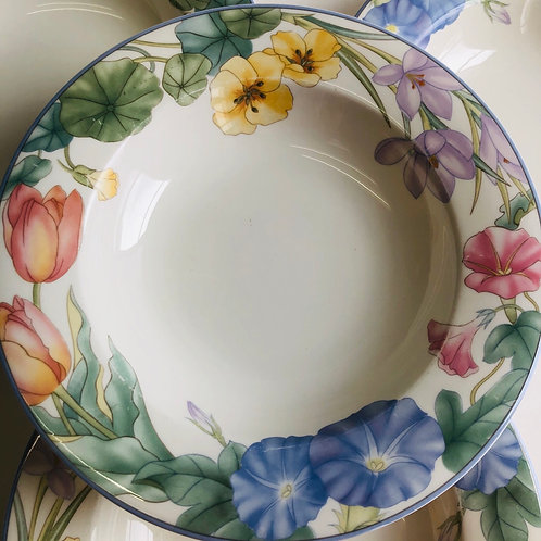 Floral Pattern Fine China Soup Bowls
