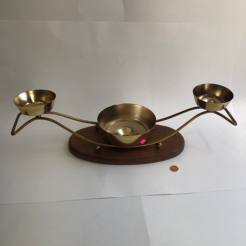 3 Cup Brass Candle Holder With Wood Base