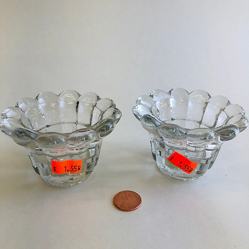 Daisy-Shaped Glass Candle Holders (pair)