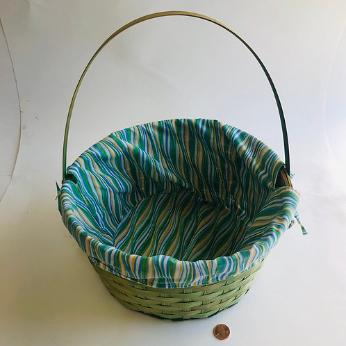 Green Basket With Striped Cloth Insert