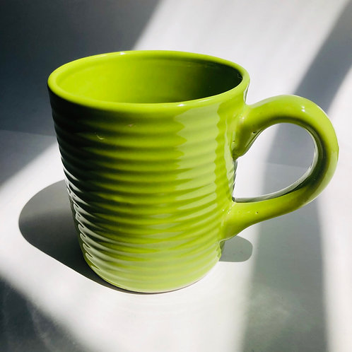Green Ribbed Mug