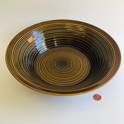 Large Brown Rippled Bowl