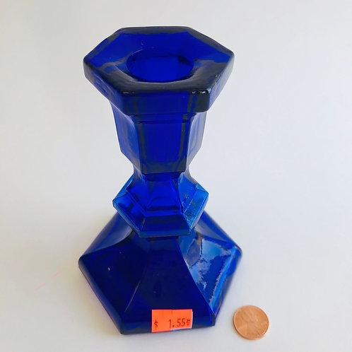 """5.5"""" Cobalt Blue Hexagon Candle Holder"""