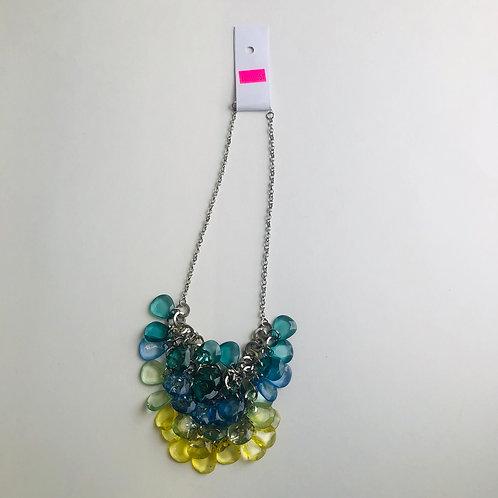 Silver Multi Layer Tear Drop Necklace