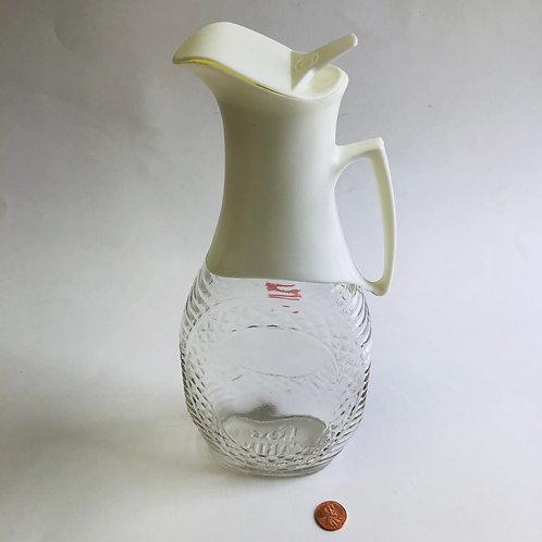Vintage Log Cabin Glass Syrup Bottle